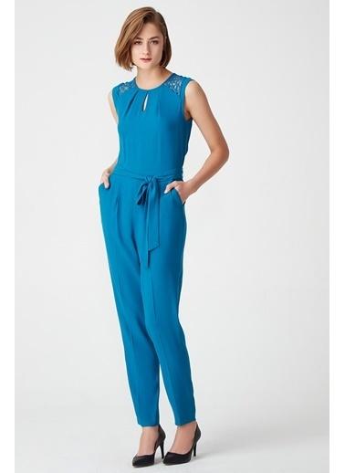 NaraMaxx Nervürlü Kontrast Elbise Petrol